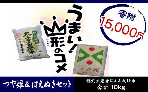 FY18-274 山形産 つや姫5kg特別栽培米はえぬき 5kgセット/計10kg