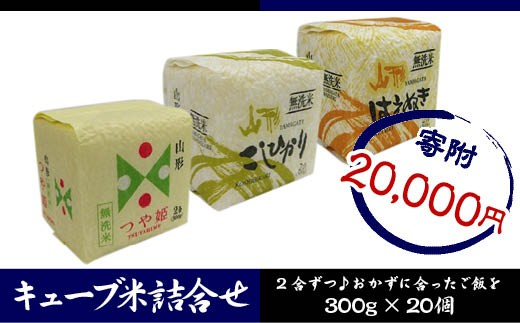 FY18-460 山形産 無洗米キューブ米詰合せ3種300g×20個