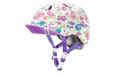 (XS-S 2歳~4歳)BERNのジュニア、キッズ用ヘルメット GIRS WHITE FLORAL