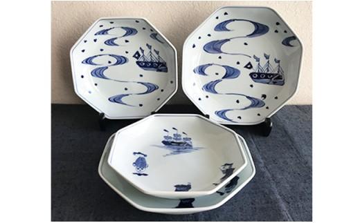 A45-21 有田焼 青花 正八角皿4枚セット ギャラリーフジヤマ