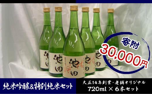 FY18-082 純米吟醸 原酒 池田 720ミリ 2本 特別 純米 茶ラベル 720ミリ 4本 合計6本セット