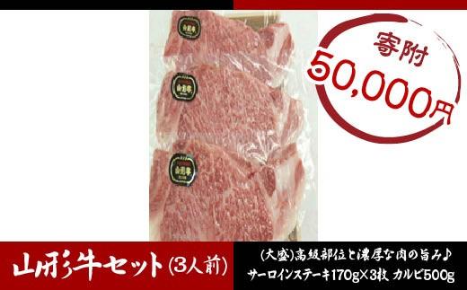 FY18-339 山形牛サーロインステーキ・カルビ焼肉セット  (3人前)