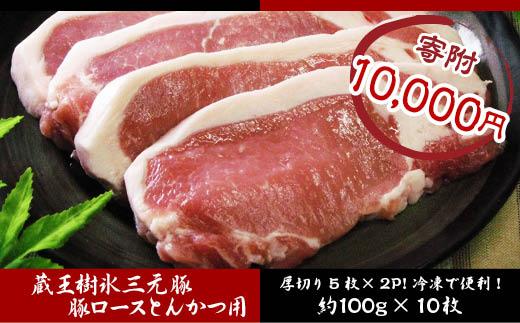 FY18-048 吉田畜産 蔵王樹氷三元豚ロースとんかつ用 1kg