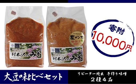 FY18-186 山形市村木沢のみそ ~大豆味比べセット~ 2種4kg
