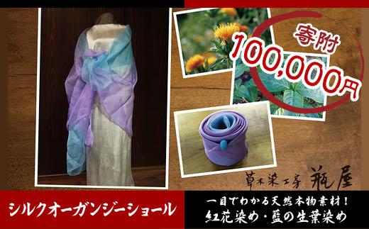 FY18-114 紅花染め・藍の生葉染め シルクオーガンジーショール