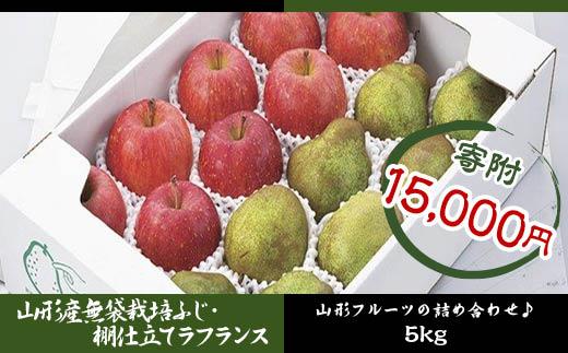 FY18-441 山形産 無袋栽培ふじ・棚仕立てラ・フランス
