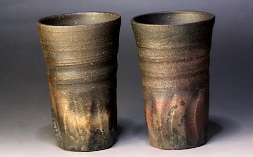 267.炭化焼き締めビアカップ(2個セット)