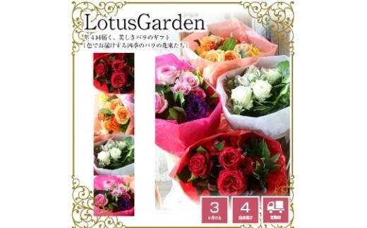 SL0037 年4回届く「色でお届けする四季の美しきバラの花束たち」