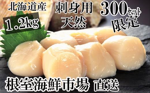 CA-42026 北海道産刺身用ほたて貝柱1.2kg(60~72玉)[430344]