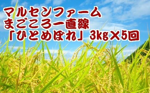 (01903)【3kg×5回】マルセンファーム まごころ一直線「ひとめぼれ」【2017年産】