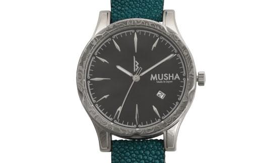 M106S03 MUSHA Damascus Watch エイ革タイプ 文字盤:黒 ベルト:ターコイズブルー