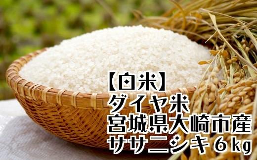 (03604)【白米6Kg】ダイヤ米 宮城県大崎市産ササニシキ【2017年産】