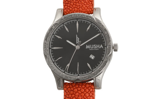 M106S02 MUSHA Damascus Watch エイ革タイプ 文字盤:黒 ベルト:オレンジ