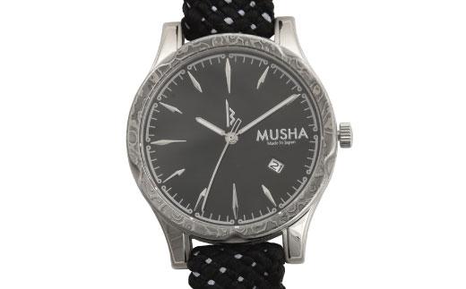 80SA01 MUSHA Damascus Watch 組紐タイプ 文字盤:黒 ベルト:黒