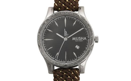 80SA04 MUSHA Damascus Watch 組紐タイプ 文字盤:黒 ベルト:オリーブ