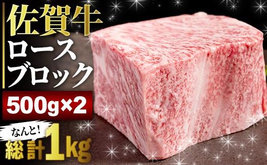 YG019 迫力の佐賀牛ロースブロック 500g×2個