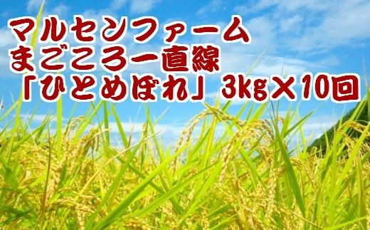 (01904)【3kg×10回】マルセンファーム まごころ一直線「ひとめぼれ」【2017年産】