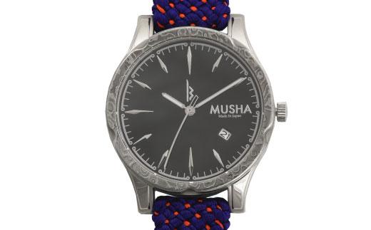80SA03 MUSHA Damascus Watch 組紐タイプ 文字盤:黒 ベルト:青