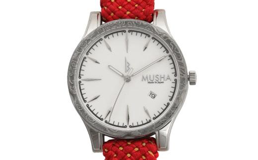 80SA06 MUSHA Damascus Watch 組紐タイプ 文字盤:白 ベルト:赤