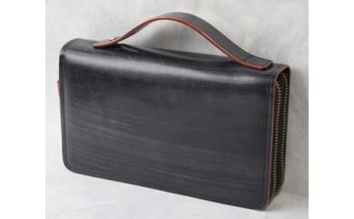ブライドルレザーダブルファスナーセカンドバッグ(ブラック)