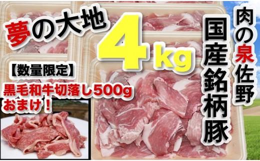 B679 【国産銘柄豚】夢の大地4㎏(黒毛和牛切落し500gおまけ付)
