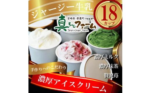 A257『濃厚リッチ』真ちゃんファームの手作りアイス詰合せ【計18個(3種×各6個)】
