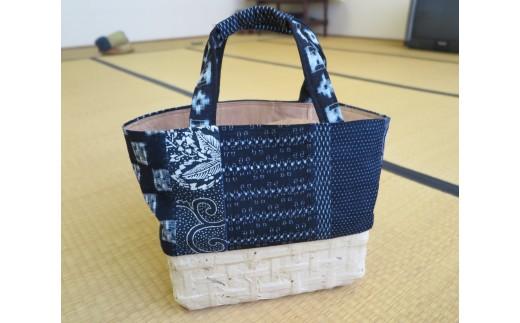 D5-011 【一閑張り中型サイズ】手提げバッグ(かすり+のり塗り仕上げ 白)