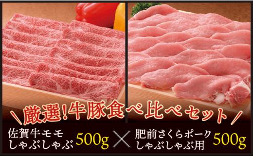 E-40  【厳選!牛豚食べ比べセット総計1000g】佐賀牛&佐賀県産肥前さくらポークしゃぶしゃぶ用
