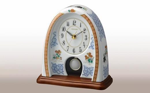 KR014 香蘭社 染綿唐草遊犬の図・クオーツ置時計