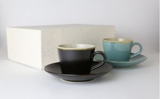 [№5666-0118]益子焼「くく」コーヒーカップ&ソーサーペアセット