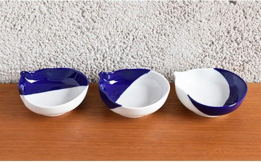 A25-48 深川製磁 瑠璃染 ひさご三つ組皿