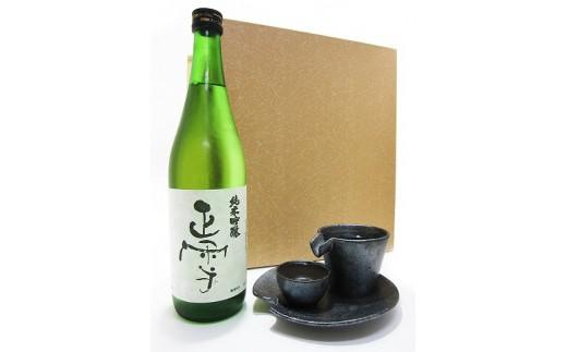 岐阜のきき酒師が厳選した酒器セット 正雪 純米吟醸 720ml+ シズル冷酒器セット 銀黒
