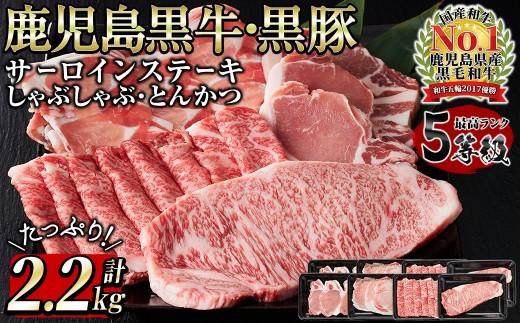 E-041 鹿児島黒牛サーロインステーキ(2枚)・黒牛黒豚しゃぶしゃぶ・とんかつセット