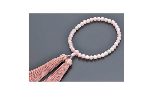 数珠 女性用 <桃色水晶 翡翠仕立> 正絹房 桐箱入【1033390】