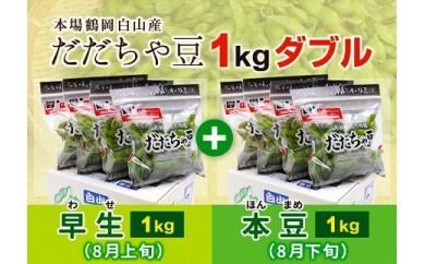 AT32 枝豆の王様『鶴岡白山だだちゃ豆(早生・本豆)1kgダブル