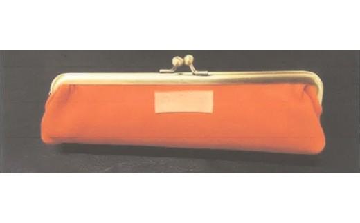 【AD-60】南信州産鹿革使用 がま口ペンケース(革色:オレンジ色)
