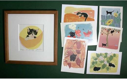[№5737-0201]伊藤陽版画「かくれんぼ」と猫のポストカード6枚