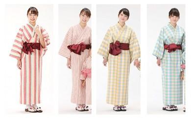 [№5786-2092]遠州綿紬使用 女性用 日本製 旅館浴衣&帯のセット
