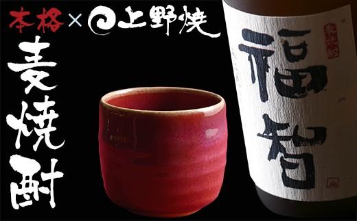 D25-06 無濾過本格麦焼酎「福智」と「上野焼 酎杯(赤/辰砂)」セット