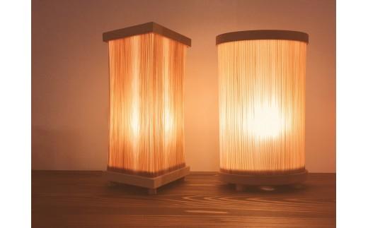 ぬくもりに包まれる西川材ランプ(のびる木 シェード使用)