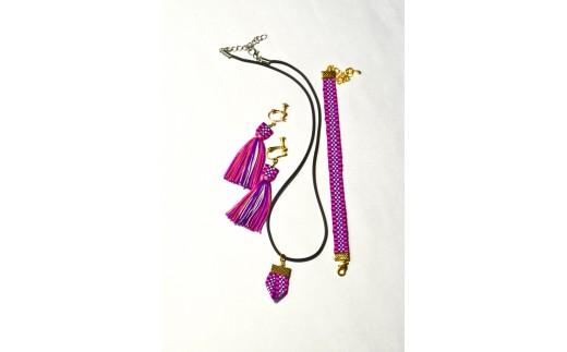 【一つ一つ手作り】色鮮やかな真田紐アクセサリー3点セット(ブレスレット・イヤリング・ネックレス)紫色_1505
