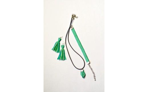 【一つ一つ手作り】色鮮やかな真田紐アクセサリー3点セット(ブレスレット・イヤリング・ネックレス)緑色_1504