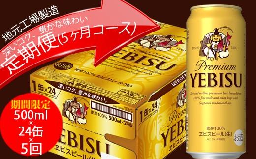 ヱビスビール定期便 仙台工場産(500ml×24本入を5回お届け)