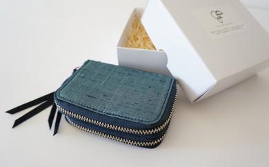 [№5535-0059]本庄織物×レザーのコインカードケース(浅葱色)