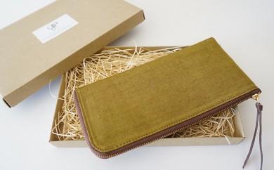 [№5535-0058]本庄織物×レザーの財布(オリーブ色)