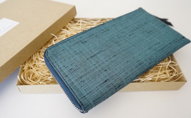 [№5535-0057]本庄織物×レザーの財布(浅葱色)