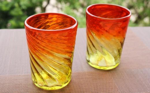 『現代の名工』宮国次男作 琉球ガラス(グラス2個セット)グラデーション