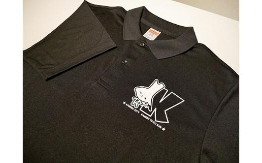 神栖市イメージキャラクター カミスココくん ポロシャツ(ブラック×ホワイト)サイズS~LL