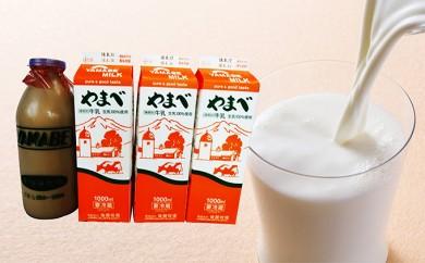 [№5922-0460]やまべ牛乳セット(牛乳1L×3、コーヒー牛乳900ml×1)