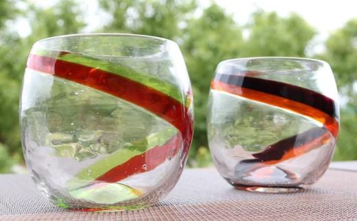 『現代の名工』宮国次男作 琉球ガラス(グラス2個セット)ライン入り